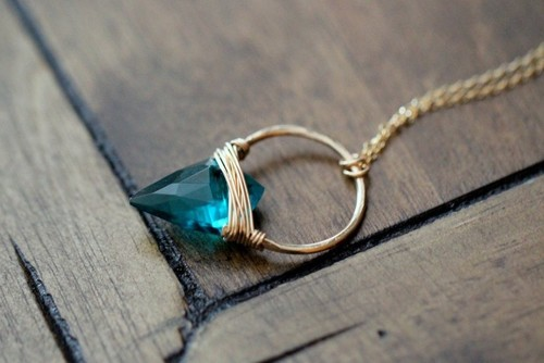 Albatross Necklace Teal Quartz 14kGold