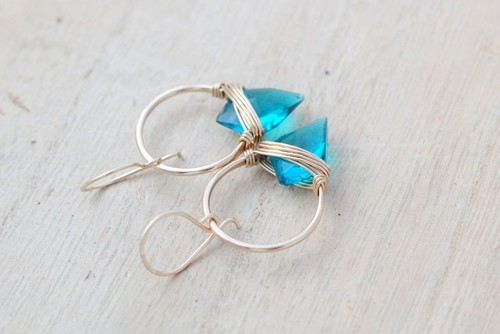 Albatross Earrings Teal Quartz