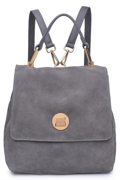 Antoinette Gold Buckle Backpack Grey