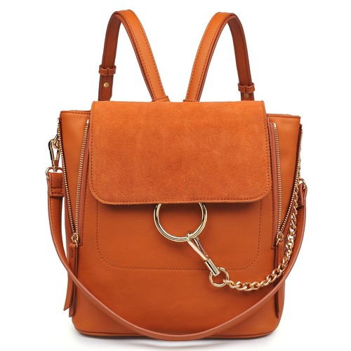 Channing Gold Chain Backpack Cognac