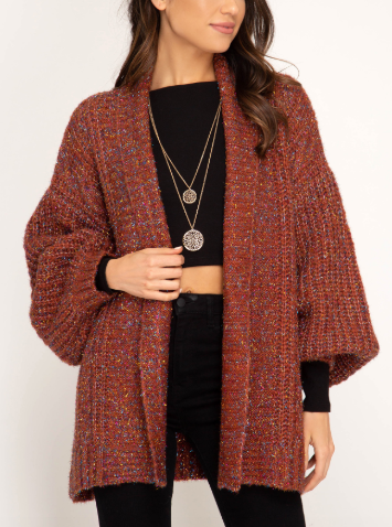 Puff Sleeve Cardigan With Lurex