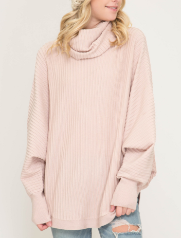 Batwing Sleeve Textured Turtle Neck Sweater