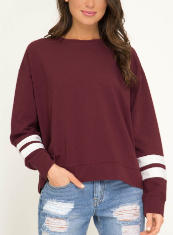 Long Sleeve Sweatshirt With Contrast Stripe