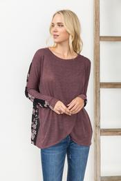Burnout Mesh Velvet Back Wrap Sweater