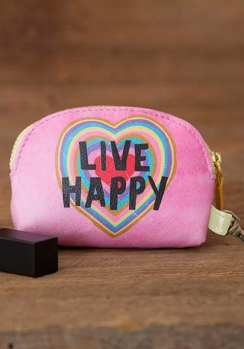 Live Happy Heart Mini Pouch