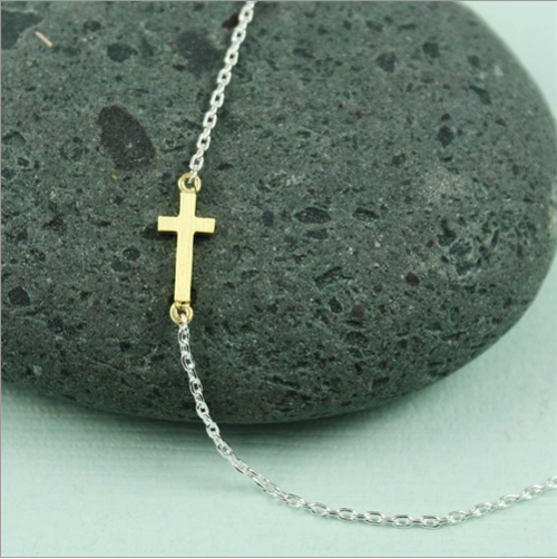 Gold Cross Sideways Necklace