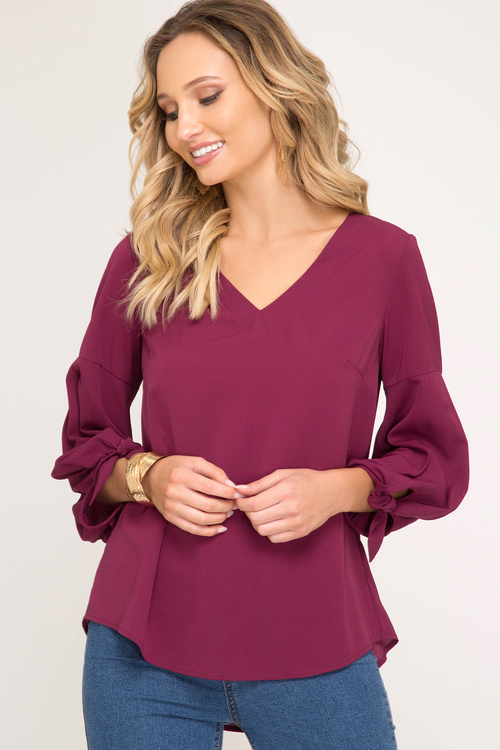 3/4 Balloon Sleeve V-Neck Top