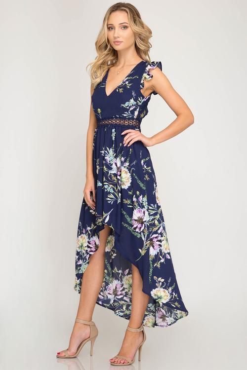 Short Ruffle Sleeve Floral Print Hi-Low Dress