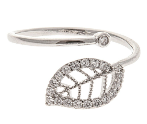 Silver Pave Leaf Ring