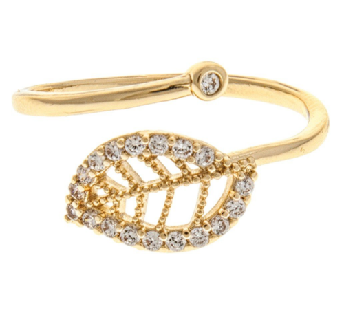 Gold Pave Leaf Ring