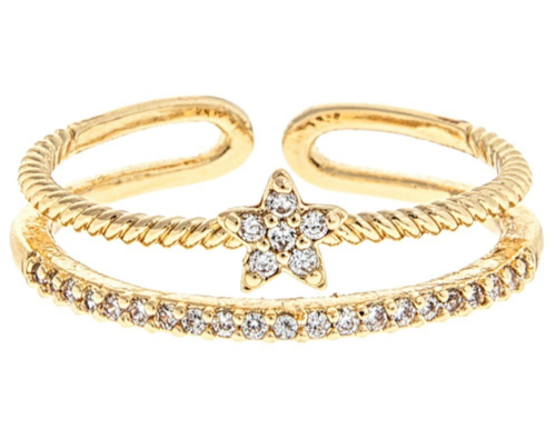 Gold 2 Row Star Ring