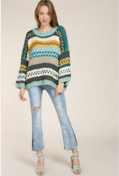 High-Los Oversized Chunky Statement Sweater