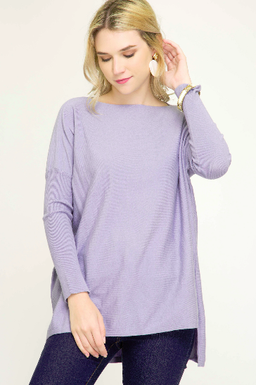 Long Sleeve Hi-Low Knit Sweater