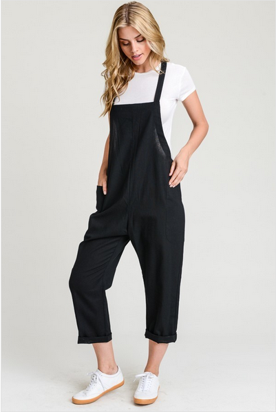 Cross Back Faux Linen Jumpsuit