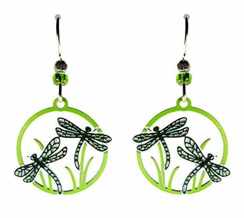 Teal Dragonflies in Lime Green Disk