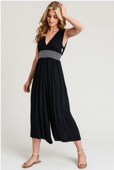 Strapy Side Smock Waist Jumpsuit
