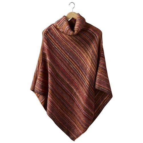 Farrah Stripe Poncho Rust