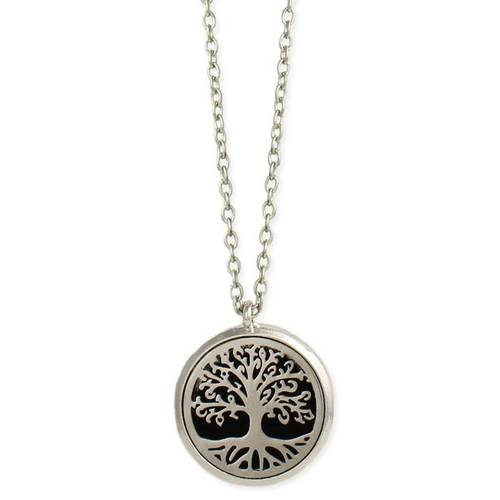 Silver Cutout Tree Diffuser Necklace