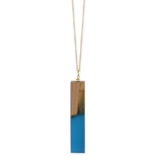 Wood Resin Rectangle Gold Necklace