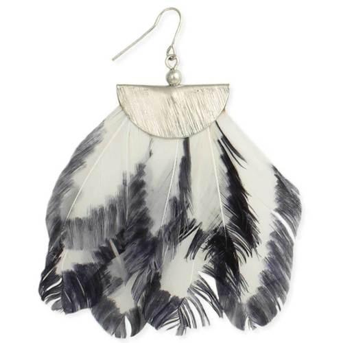 Gold White Feather Fan Silver Earrings