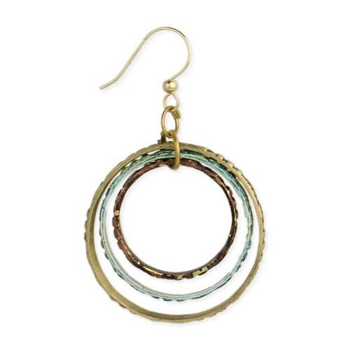 Embossed 3 Circles Gold Earrings