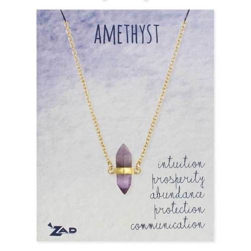 Ameythst Crystal Gold Necklace