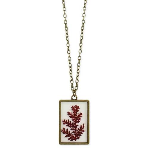 Dried Fern Rectangle Necklace