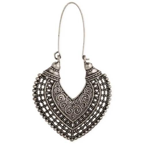 Ethnic Long Hoop Earrings Silver