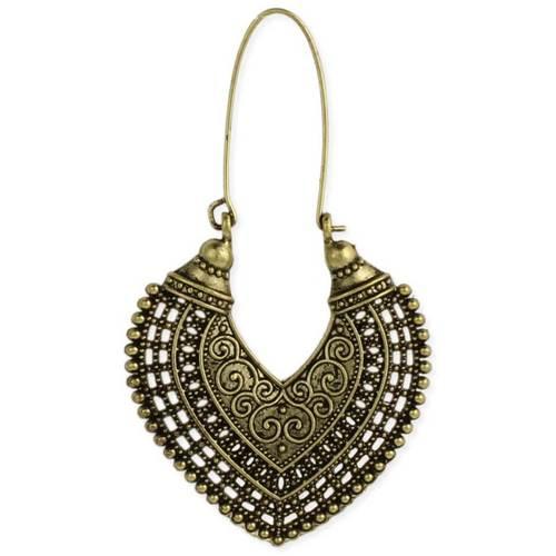 Ethnic Long Hoop Earrings Gold