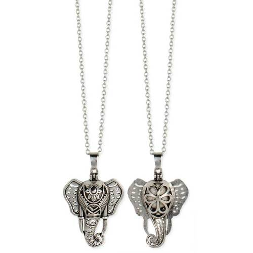 Elephant Diffuser Necklace SIlver