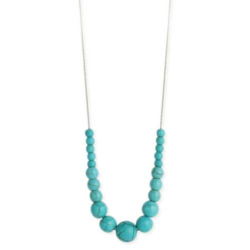 Round Turquoise Beaded Silver Necklace
