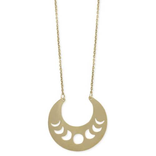 Moon Phases Crescent Necklace Matte Gold