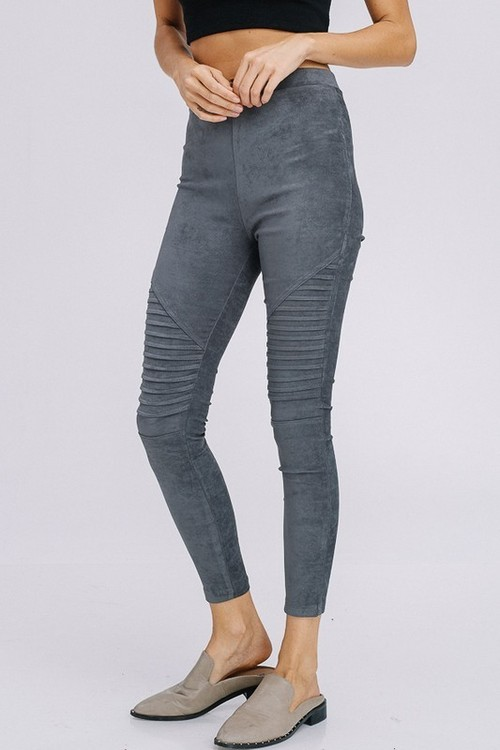 Charcoal Moto Suede Leggings