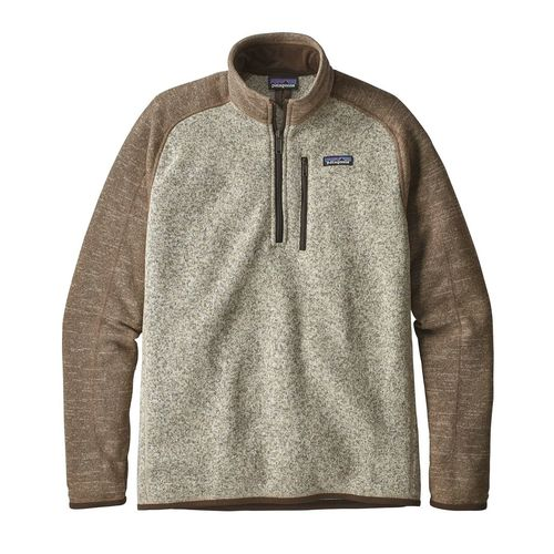 Patagonia M's Better Sweater 1/4 Zip Bleached Stone w/ Pale Khaki
