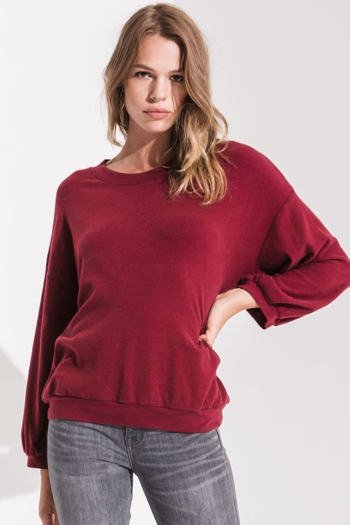 Pylos Oversized Fleece Pullover Pinot Noir