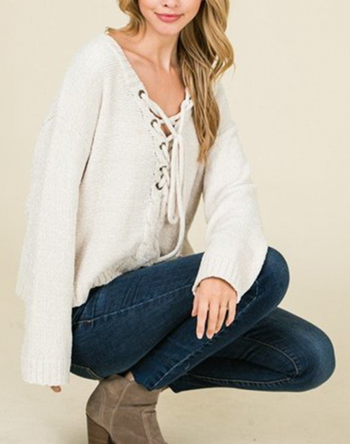 Oversized Lace Up Chenile Sweater