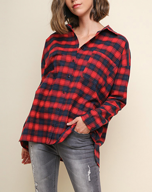 Long Sleeve Embroidered Back Plaid Button Up