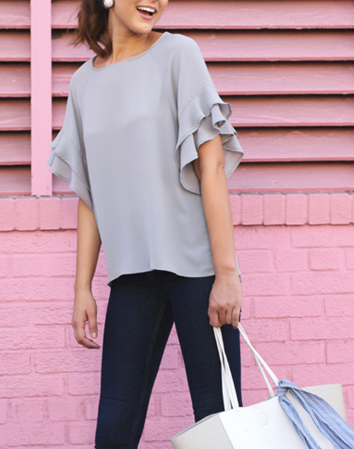 Layered Ruffle Sleeve Round Neck Top