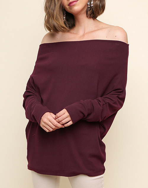 Long Sleeve Off Shoulder Dolman Sleeve Top