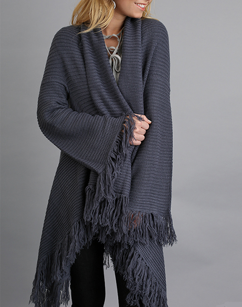 Open Front Fringe Sweater