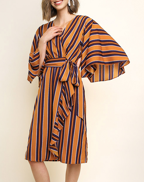 Striped Waist Tie Wrapped Dress