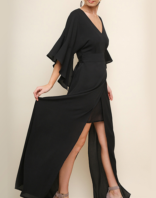 Split Ruffle Sleeve V Neck Maxi Dress