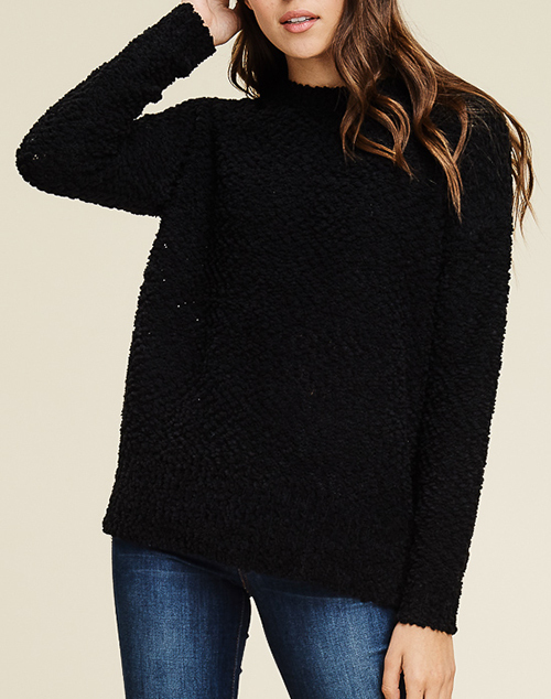 Long Sleeve Fluffy Pull Over Sweater
