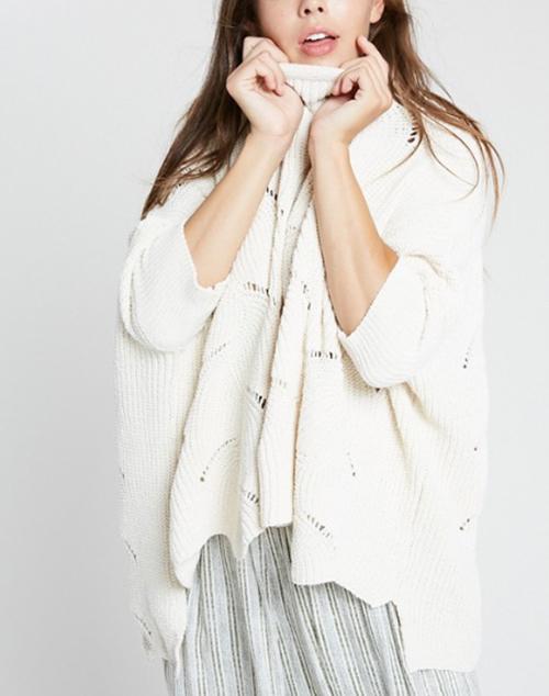 3/4 Chenille Wavy Hem Sweater