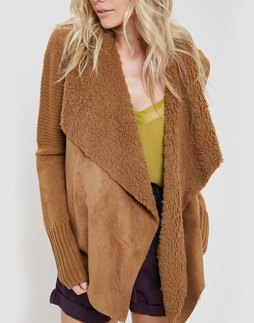 Long Sleeve Draped Suede Cardigan