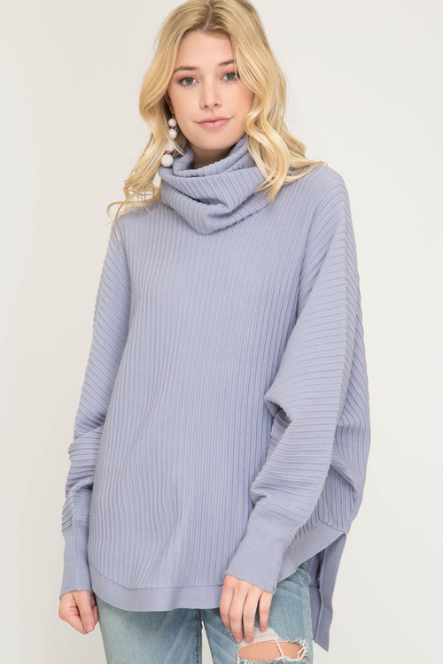 Batwing Sleeve Textured Turtleneck Sweater