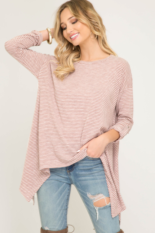 Roll-Up Long Sleeve Knit Top