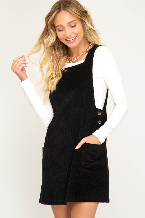Corduroy Overall Dress with Side Button