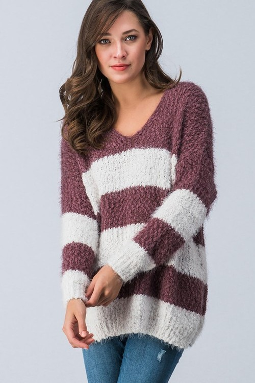 Fuzzy Wine Striped Oversize Sweater