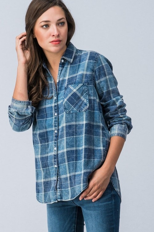 Washed Plaid Denim Button Down